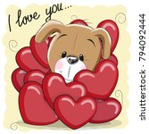 valentine card with cute...   Shutterstock .eps vector #794092444