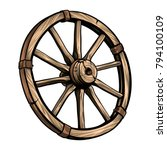 old wagon wooden wheel vector... | Shutterstock .eps vector #794100109