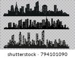 silhouette of the city in a... | Shutterstock .eps vector #794101090
