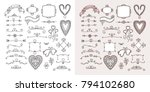 ornate frames and hearts... | Shutterstock .eps vector #794102680
