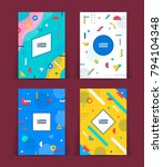 set of neo memphis style covers.... | Shutterstock .eps vector #794104348