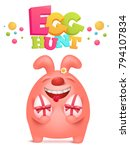 egg hunt invitation card with... | Shutterstock .eps vector #794107834