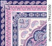 indian rug paisley ornament... | Shutterstock .eps vector #794111500