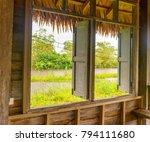 an interior of a wooden cottage ...   Shutterstock . vector #794111680