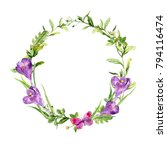 easter wreath with spring... | Shutterstock . vector #794116474