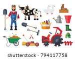 Vector Flat Farm Set With...