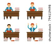 students reading a book.... | Shutterstock .eps vector #794119498