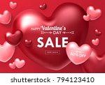 valentines day sale banner... | Shutterstock .eps vector #794123410