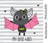cute bat cartoon vector... | Shutterstock .eps vector #794131390