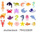 big vector set of sea creatures.... | Shutterstock .eps vector #794132839