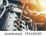 mechanic repairing car with... | Shutterstock . vector #794133250