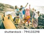 hipster friends having fun... | Shutterstock . vector #794133298