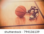 basketball court with ball and... | Shutterstock . vector #794136139