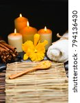 spa setting with orange orchid... | Shutterstock . vector #794136430