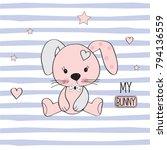 cute bunny girl  baby shower... | Shutterstock .eps vector #794136559