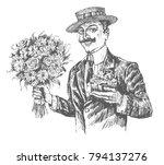 handsome elegant gentleman... | Shutterstock .eps vector #794137276