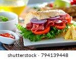 salami sandwich and mushroom...   Shutterstock . vector #794139448