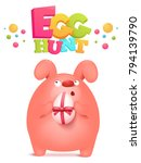 egg hunt invitation card with... | Shutterstock .eps vector #794139790