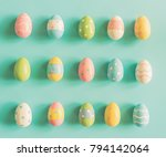 coloeful easter eggs on pastel...   Shutterstock . vector #794142064