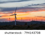 windmill under the sunset | Shutterstock . vector #794143708