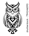 tribal tattoo design for owl... | Shutterstock .eps vector #794146093