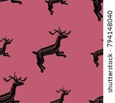 seamless pattern with jumping... | Shutterstock .eps vector #794148040