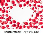 Stock photo flowers composition frame made of rose flowers confetti on white background valentines day 794148130