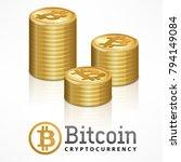 bitcoin golden coins stack ... | Shutterstock .eps vector #794149084