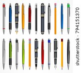 set of pens and pencils  tools... | Shutterstock .eps vector #794151370