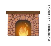classic fireplace made of... | Shutterstock .eps vector #794156476