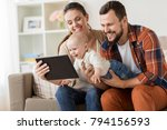 family  parenthood and people... | Shutterstock . vector #794156593