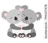 hugging koala postcard vector...