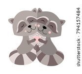 hugging raccoon postcard vector ...