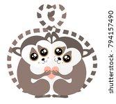 hugging lemur postcard vector...