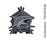 wild shark emlbem logo grayscale