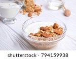 glass bowl with greek yogurt... | Shutterstock . vector #794159938