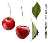 red cherry. two ripe berries... | Shutterstock .eps vector #794165260