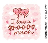 love greeting card with cute... | Shutterstock .eps vector #794166499