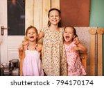 the little girls in the... | Shutterstock . vector #794170174