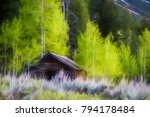 Log Cabin With Sloped Roof At...