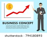 businessman and graph with... | Shutterstock .eps vector #794180893