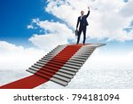 young businessman climbing... | Shutterstock . vector #794181094
