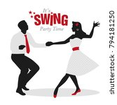 swing party time  silhouettes... | Shutterstock .eps vector #794181250