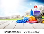 spring cleaning and desk of... | Shutterstock . vector #794183269