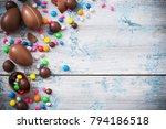 chocolate easter eggs over... | Shutterstock . vector #794186518