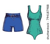 swimsuit and swimming trunks on ... | Shutterstock .eps vector #794187988