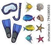 diving mask and flippers on...   Shutterstock .eps vector #794188003