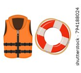 life jacket and life buoy on... | Shutterstock .eps vector #794188024