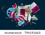 massive heap of strange things... | Shutterstock . vector #794191663