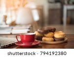 coffee break with snack and cup ... | Shutterstock . vector #794192380